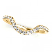 Diamond Accented Contoured Wedding Band 14k Yellow Gold (0.17ct)
