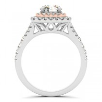 Square Double Halo Diamond Engagement Ring 14k Two-tone Gold (0.62ct)