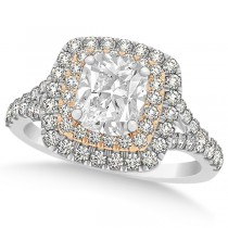 Double Halo Cushion Diamond Engagement Ring 14k Two-Tone Gold (2.00ct)