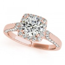 Square Halo Diamond Accented Engagement Ring 14k Rose Gold 1.00ct