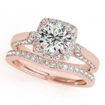 Diamond Accented Square Halo Ring & Band Bridal Set 14k R. Gold 1.25ct