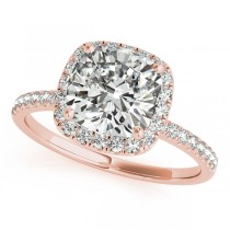 Cushion Diamond Halo Engagement Ring French Pave 14k R. Gold 0.70ct