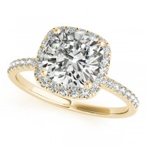 Cushion Diamond Halo Engagement Ring French Pave 18k Y. Gold 0.70ct