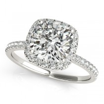 Cushion Diamond Halo Engagement Ring French Pave 18k W. Gold 1.58ct