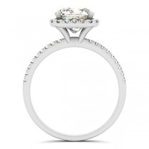 Cushion Moissanite & Diamond Halo Engagement Ring French Pave 14k W. Gold 0.70ct