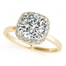 Cushion Diamond Halo Engagement Ring 18k Yellow Gold (1.00ct)