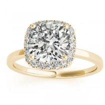 Cushion Diamond Halo Engagement Ring 14k Yellow Gold (0.15ct)