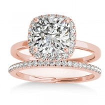 Cushion Diamond Halo Bridal Set 14k Rose Gold (0.29ct)