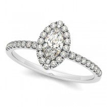 Marquise Diamond Halo Engagement Ring w/ Accents 14k W. Gold 1.20ct