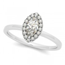 Marquise Diamond Halo Engagement Ring Pave Set 14k W. Gold 0.50ct