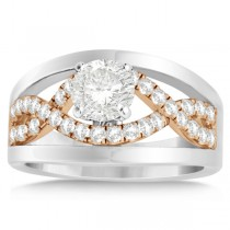 Split Shank & Twisted Infinity Engagement Ring 14k Two Tone Gold (0.25ct)