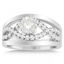 Split Shank & Twisted Infinity Engagement Ring 14k White Gold (0.25ct)