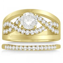 Split Shank & Infinity Engagement Ring Bridal Set 18k Yellow Gold (0.25ct)