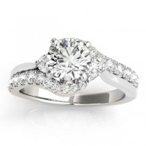 Diamond Bypass Engagement Ring Setting in 14k White Gold (0.50ct)