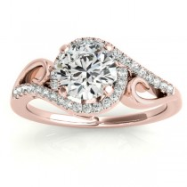 Swirl Shank Bypass Halo Diamond Engagement Ring 18k Rose Gold (0.20ct)