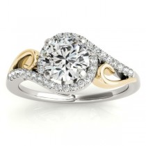 Swirl Bypass Halo Diamond Engagement Ring 18k Two-Tone Gold (0.20ct)