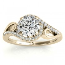 Swirl Shank Bypass Halo Diamond Engagement Ring 18k Two Tone Gold (0.20ct)