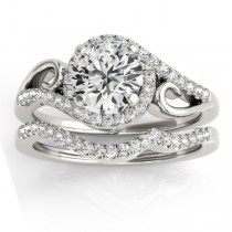 Diamond Swirl Engagement Ring & Band Bridal Set Platinum (0.36ct)