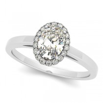 Oval Shaped Diamond Halo Engagement Ring in 14k White Gold (1.13ct)
