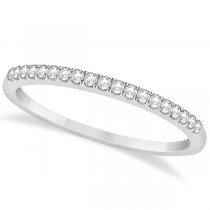 French Pave Set Diamond Accented Wedding Band in 14k White Gold 0.13ct