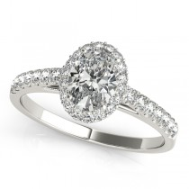 Diamond Halo Oval Shape Engagement Ring 14k White Gold (1.00ct)