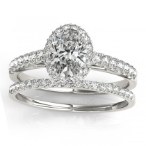 Diamond Halo Oval Shape Bridal Set 18k White Gold (0.37ct)