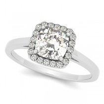 Cushion Cut Diamond Halo Engagement Ring in 14k White Gold (1.00ct)