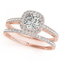 Cushion Diamond Halo Bridal Set 18k Rose Gold (1.65ct)