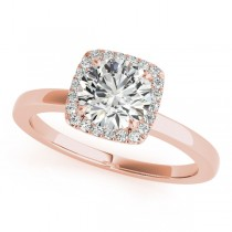 Diamond Square Solitaire Halo Engagement Ring 14k Rose Gold (1.12ct)