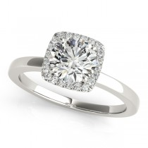 Diamond Square Solitaire Halo Engagement Ring 18k White Gold (1.12ct)
