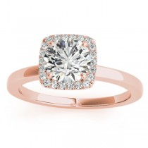 Diamond Halo Solitaire Engagement Ring Setting 18k Rose Gold (0.06ct)