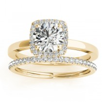 Diamond Halo Solitaire Bridal Set Setting 18k Yellow Gold (0.20ct)