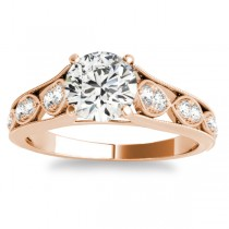 Graduating Diamond Side Stone Engagement Ring 14k Rose Gold (0.20ct)