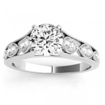 Graduating Diamond Side Stone Engagement Ring 14k White Gold (0.20ct)