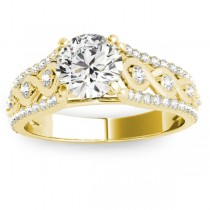 Graduating Diamond Twisted Engagement Ring 14k Yellow Gold (0.38ct)