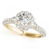 Flower Halo Pear Accents Diamond Engagement Ring 14k Yellow Gold 1.75ct