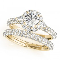 Pave' Flower Halo Pear Cut Diamond Bridal Set 18k Yellow Gold (2.50ct)