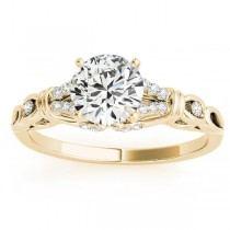 Diamond Antique Style Engagement Ring Setting 14k Yellow Gold (0.14ct)