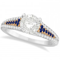 Blue Sapphire & Diamond Engagement Ring 18k Two Tone Rose Gold 1.33ct