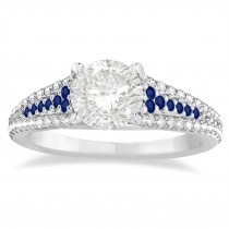 Blue Sapphire & Diamond Engagement Ring 14k White Gold (0.33ct)
