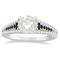 Blue Sapphire & Diamond Engagement Ring 18k Two Tone Gold (0.33ct)