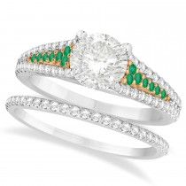 Emerald and Diamond Bridal Set 14k Two Tone Rose Gold (1.47ct)