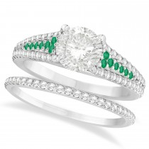 Emerald and Diamond Bridal Set 18k White Gold (1.47ct)
