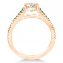 Emerald & Diamond 3 Row Bridal Set 14k Rose Gold (0.47ct)