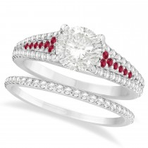 Ruby and Diamond Bridal Set 18k White Gold (1.47ct)