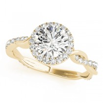Diamond Twisted Halo Engagement Ring 14k Yellow Gold (1.32ct)