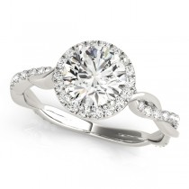 Diamond Twisted Halo Engagement Ring 18k White Gold (1.32ct)