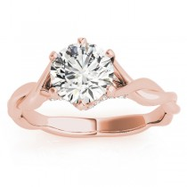 Diamond 6-Prong Twisted Engagement Ring Setting 18k Rose Gold (.11ct)
