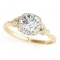 Diamond Antique Style Engagement Ring 14k Yellow Gold (0.89ct)