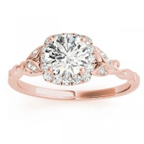 Butterfly Halo Diamond Engagement Ring 14k Rose Gold (0.14ct)
